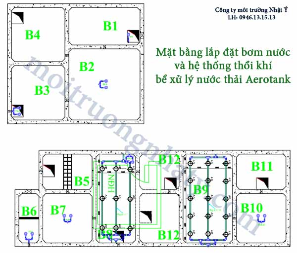 Hệ thống thổi khí bể hiếu khí Aerotank
