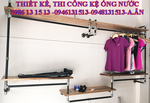 Kệ ống nước treo đồ shop thời trang
